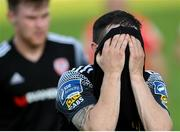 13 September 2020; Ciarán Coll of Derry City reacts following the SSE Airtricity League Premier Division match between Finn Harps and Derry City at Finn Park in Ballybofey, Donegal. Photo by Stephen McCarthy/Sportsfile