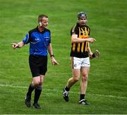 13 September 2020; Referee Wayne King and Bryan Donnellan of O'Callaghan's Mills during the Clare County Senior Hurling Championship Semi-Final match between Ballyea and O'Callaghan's Mills at Cusack Park in Ennis, Clare. Photo by Ray McManus/Sportsfile