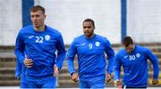 13 September 2020; Jack Serrant-Green, centre, of Finn Harps prior to the SSE Airtricity League Premier Division match between Finn Harps and Derry City at Finn Park in Ballybofey, Donegal. Photo by Stephen McCarthy/Sportsfile