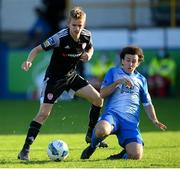 13 September 2020; Ciaron Harkin of Derry City in action against Barry McNamee of Finn Harps during the SSE Airtricity League Premier Division match between Finn Harps and Derry City at Finn Park in Ballybofey, Donegal. Photo by Stephen McCarthy/Sportsfile