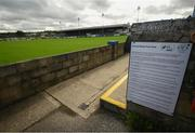 13 September 2020; Ground regulations are seen at Finn Park prior to the SSE Airtricity League Premier Division match between Finn Harps and Derry City at Finn Park in Ballybofey, Donegal. Photo by Stephen McCarthy/Sportsfile