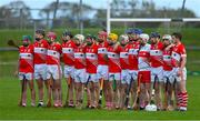 13 September 2020; The Loughgiel Shamrocks team stand for Amhrán na bhFiann prior to the Antrim County Senior Hurling Championship Final match between Dunloy Cuchullains and Loughgiel Shamrocks at Páirc Mhic Uilín in Ballycastle, Antrim. Photo by Brendan Moran/Sportsfile
