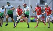 6 September 2020; Ben Coffey of Lucan Sarsfields kicks the ball downfield as Cuala players, from left, Michael Conroy, John Sheanon, and Colm Cronin close in during the Dublin County Senior Hurling Championship Semi-Final match between Lucan Sarsfields and Cuala at Parnell Park in Dublin. Photo by Piaras Ó Mídheach/Sportsfile
