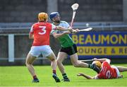 6 September 2020; CJ Smith of Lucan Sarsfields in action against Cian O'Callaghan of Cuala during the Dublin County Senior Hurling Championship Semi-Final match between Lucan Sarsfields and Cuala at Parnell Park in Dublin. Photo by Piaras Ó Mídheach/Sportsfile