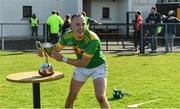 13 September 2020; Dunloy captain Paul Shiels takes the cup after the Antrim County Senior Hurling Championship Final match between Dunloy Cuchullains and Loughgiel Shamrocks at Páirc Mhic Uilín in Ballycastle, Antrim. Photo by Brendan Moran/Sportsfile