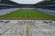 16 August 2020; An empty Croke Park Stadium is seen at 5.08pm, around the time when the Liam MacCarthy Cup is usually presented to the winning team captain, on the original scheduled date of the 2020 GAA Hurling All-Ireland Senior Championship Final. Due to current restrictions laid down by the Irish government to prevent the spread of coronavirus, the dates for the staging of the GAA inter-county season have been pushed back, with the first round of games now due to start in October. The 2020 All-Ireland Senior Hurling Championship was due to be the 133rd staging of the All-Ireland Senior Hurling Championship, the Gaelic Athletic Association's premier inter-county hurling tournament, since its establishment in 1887. For the first time in 96 years the All-Ireland hurling final is now due to be played in December with the 2020 final due on Sunday, December 13th, the same weekend on which Dublin beat Galway in the 1924 final.   Photo by Brendan Moran/Sportsfile