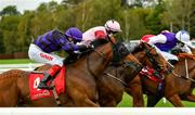 16 September 2020; No Patience, left, with Andrew Slattery up, races alongside eventual fourth place Abogados, with Colin Keane up, on their way to winning the CorkRacecourse.ie Nursery Handicap at Cork Racecourse in Mallow. Photo by Seb Daly/Sportsfile