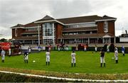 16 September 2020; Jockeys observe a minute's silence in the parade ring at Cork Racecourse in Mallow for former jockey Pat Smullen who passed away yesterday, September 15. Photo by Seb Daly/Sportsfile