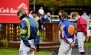 16 September 2020; Jockey Billy Lee, left, observes a minute's silence alongside his colleagues in the parade ring at Cork Racecourse in Mallow in memory of former jockey Pat Smullen, who passed away yesterday September 15. Photo by Seb Daly/Sportsfile