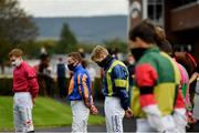 16 September 2020; Jockey Billy Lee, centre, observes a minute's silence alongside his colleagues in the parade ring at Cork Racecourse in Mallow in memory of former jockey Pat Smullen, who passed away yesterday September 15. Photo by Seb Daly/Sportsfile