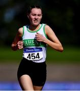 13 September 2020; Triona Nicdhonaill of Raheny Shamrock AC, Dublin, competing in the Junior Women's 3000m during day two of the Irish Life Health National Junior Track and Field Championships at Morton Stadium in Santry, Dublin. Photo by Ben McShane/Sportsfile