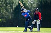 17 September 2020; Stephen Doheny of Leinster Lightning plays a shot watched by Ruan Pretorius of Northern Knights during the Test Triangle Inter-Provincial 50- Over Series 2020 match between Leinster Lightning and Northern Knights at Comber in Down. Photo by Sam Barnes/Sportsfile