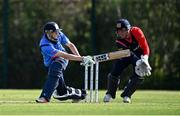 17 September 2020; Greg Ford of Leinster Lightning plays a shot that narrowly beats wicketkeeper Gary Wilson of Northern Knights during the Test Triangle Inter-Provincial 50- Over Series 2020 match between Leinster Lightning and Northern Knights at Comber in Down. Photo by Sam Barnes/Sportsfile