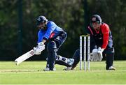17 September 2020; Simi Singh of Leinster Lightning plays a shot watched by Gary Wilson of Northern Knights during the Test Triangle Inter-Provincial 50- Over Series 2020 match between Leinster Lightning and Northern Knights at Comber in Down. Photo by Sam Barnes/Sportsfile