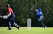 17 September 2020; George Dockrell of Leinster Lightning catches out Marc Ellison of Northern Knights during the Test Triangle Inter-Provincial 50- Over Series 2020 match between Leinster Lightning and Northern Knights at Comber in Down. Photo by Sam Barnes/Sportsfile