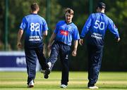 17 September 2020; Curtis Campher of Leinster Lightning celebrates with team-mates Josh Little, left, and George Dockrell after bowling James McCollum of Northern Knights for LBW during the Test Triangle Inter-Provincial 50- Over Series 2020 match between Leinster Lightning and Northern Knights at Comber in Down. Photo by Sam Barnes/Sportsfile