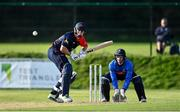 17 September 2020; David Delany of Northern Knights plays a shot watched by Lorcan Tucker of Leinster Lightning during the Test Triangle Inter-Provincial 50- Over Series 2020 match between Leinster Lightning and Northern Knights at Comber in Down. Photo by Sam Barnes/Sportsfile