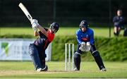 17 September 2020; David Delany of Northern Knights plays a shot before being stumped by Lorcan Tucker of Leinster Lightning during the Test Triangle Inter-Provincial 50- Over Series 2020 match between Leinster Lightning and Northern Knights at Comber in Down. Photo by Sam Barnes/Sportsfile