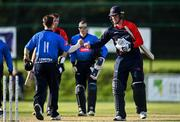 17 September 2020; Matthew Foster of Northern Knights, right, bumps fists with Curtis Campher of Leinster Lightning following the Test Triangle Inter-Provincial 50- Over Series 2020 match between Leinster Lightning and Northern Knights at Comber in Down. Photo by Sam Barnes/Sportsfile