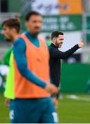 17 September 2020; Shamrock Rovers manager Stephen Bradley ahead of the UEFA Europa League Second Qualifying Round match between Shamrock Rovers and AC Milan at Tallaght Stadium in Dublin. Photo by Stephen McCarthy/Sportsfile