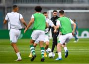 17 September 2020; Shamrock Rovers manager Stephen Bradley watches his players warm-up prior to the UEFA Europa League Second Qualifying Round match between Shamrock Rovers and AC Milan at Tallaght Stadium in Dublin. Photo by Seb Daly/Sportsfile