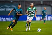 17 September 2020; Lee Grace of Shamrock Rovers in action against Zlatan Ibrahimovic of AC Milan during the UEFA Europa League Second Qualifying Round match between Shamrock Rovers and AC Milan at Tallaght Stadium in Dublin. Photo by Seb Daly/Sportsfile