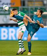 17 September 2020; Gary O'Neill of Shamrock Rovers in action against Zlatan Ibrahimovic of AC Milan during the UEFA Europa League Second Qualifying Round match between Shamrock Rovers and AC Milan at Tallaght Stadium in Dublin. Photo by Stephen McCarthy/Sportsfile
