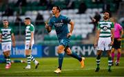 17 September 2020; Zlatan Ibrahimovic of AC Milan celebrates after scoring his side's first goal during the UEFA Europa League Second Qualifying Round match between Shamrock Rovers and AC Milan at Tallaght Stadium in Dublin. Photo by Seb Daly/Sportsfile