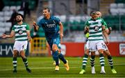17 September 2020; Zlatan Ibrahimovic of AC Milan celebrates after scoring his side's first goal, as Shamrock Rovers players react, from left, Roberto Lopes and Lee Grace during the UEFA Europa League Second Qualifying Round match between Shamrock Rovers and AC Milan at Tallaght Stadium in Dublin. Photo by Seb Daly/Sportsfile