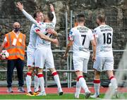 17 September 2020; David McMillan of Dundalk celebrates after scoring his side's first goal with team-mates, including Stefan Colovic, during the UEFA Europa League Second Qualifying Round match between Inter Escaldes and Dundalk at Estadi Comunal d'Andorra la Vella in Andorra. Photo by Manuel Blondeau/Sportsfile