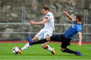 17 September 2020; David McMillan of Dundalk shoots to score his side's first goal, despite the attention of Emili Garcia of Inter Escaldes during the UEFA Europa League Second Qualifying Round match between Inter Escaldes and Dundalk at Estadi Comunal d'Andorra la Vella in Andorra. Photo by Manuel Blondeau/Sportsfile