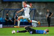 17 September 2020; David McMillan of Dundalk in action against ldefons Lima of Inter Escaldes during the UEFA Europa League Second Qualifying Round match between Inter Escaldes and Dundalk at Estadi Comunal d'Andorra la Vella in Andorra. Photo by Manuel Blondeau/Sportsfile