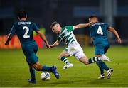 17 September 2020; Jack Byrne of Shamrock Rovers in action against Ismaël Bennacer, right, and Davide Calabria of AC Milan during the UEFA Europa League Second Qualifying Round match between Shamrock Rovers and AC Milan at Tallaght Stadium in Dublin. Photo by Seb Daly/Sportsfile