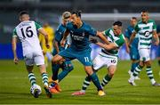 17 September 2020; Zlatan Ibrahimovic of AC Milan in action against Aaron McEneff, right, and Gary O'Neill of Shamrock Rovers during the UEFA Europa League Second Qualifying Round match between Shamrock Rovers and AC Milan at Tallaght Stadium in Dublin. Photo by Seb Daly/Sportsfile