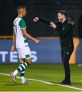 17 September 2020; Shamrock Rovers manager Stephen Bradley in conversation with Graham Burke of Shamrock Rovers during the UEFA Europa League Second Qualifying Round match between Shamrock Rovers and AC Milan at Tallaght Stadium in Dublin. Photo by Stephen McCarthy/Sportsfile