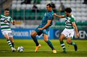 17 September 2020; Zlatan Ibrahimovic of AC Milan in action against Gary O'Neill, left, and Roberto Lopes of Shamrock Rovers during the UEFA Europa League Second Qualifying Round match between Shamrock Rovers and AC Milan at Tallaght Stadium in Dublin. Photo by Seb Daly/Sportsfile