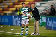 17 September 2020; AC Milan manager Stefano Pioli gives the ball to Ronan Finn of Shamrock Rovers during the UEFA Europa League Second Qualifying Round match between Shamrock Rovers and AC Milan at Tallaght Stadium in Dublin. Photo by Stephen McCarthy/Sportsfile