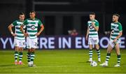 17 September 2020; Shamrock Rovers players, from left, Aaron McEneff, Graham Burke, Gary O'Neill and Jack Byrne after their side conceded a second goal during the UEFA Europa League Second Qualifying Round match between Shamrock Rovers and AC Milan at Tallaght Stadium in Dublin. Photo by Seb Daly/Sportsfile