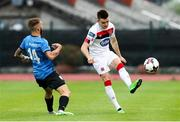 17 September 2020; Darragh Leahy of Dundalk in action against Jordi Rubio of Inter Escaldes during the UEFA Europa League Second Qualifying Round match between Inter Escaldes and Dundalk at Estadi Comunal d'Andorra la Vella in Andorra. Photo by Manuel Blondeau/Sportsfile