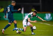 17 September 2020; Ronan Finn of Shamrock Rovers in action against Theo Hernández of AC Milan during the UEFA Europa League Second Qualifying Round match between Shamrock Rovers and AC Milan at Tallaght Stadium in Dublin. Photo by Stephen McCarthy/Sportsfile