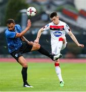 17 September 2020; Darragh Leahy of Dundalk in action against Sergi Moreno of Inter Escaldes during the UEFA Europa League Second Qualifying Round match between Inter Escaldes and Dundalk at Estadi Comunal d'Andorra la Vella in Andorra. Photo by Manuel Blondeau/Sportsfile