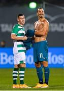 17 September 2020; Aaron Greene of Shamrock Rovers and Zlatan Ibrahimovic of AC Milan following the UEFA Europa League Second Qualifying Round match between Shamrock Rovers and AC Milan at Tallaght Stadium in Dublin. Photo by Seb Daly/Sportsfile