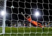 17 September 2020; Shamrock Rovers goalkeeper Alan Mannus is beaten by the shot of Hakan Çalhanoglu of AC Milan to concede his side's second goal during the UEFA Europa League Second Qualifying Round match between Shamrock Rovers and AC Milan at Tallaght Stadium in Dublin. Photo by Stephen McCarthy/Sportsfile
