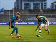 17 September 2020; Samuel Castillejo of AC Milan in action against Neil Farrugia of Shamrock Rovers during the UEFA Europa League Second Qualifying Round match between Shamrock Rovers and AC Milan at Tallaght Stadium in Dublin. Photo by Seb Daly/Sportsfile
