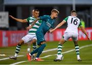 17 September 2020; Samuel Castillejo of AC Milan in action against Graham Burke, left, and Gary O'Neill of Shamrock Rovers during the UEFA Europa League Second Qualifying Round match between Shamrock Rovers and AC Milan at Tallaght Stadium in Dublin. Photo by Seb Daly/Sportsfile