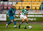 17 September 2020; Roberto Lopes of Shamrock Rovers in action against Theo Hernández of AC Milan during the UEFA Europa League Second Qualifying Round match between Shamrock Rovers and AC Milan at Tallaght Stadium in Dublin. Photo by Seb Daly/Sportsfile
