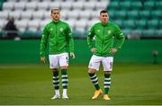 17 September 2020; Lee Grace, left, and Aaron Greene of Shamrock Rovers prior to the UEFA Europa League Second Qualifying Round match between Shamrock Rovers and AC Milan at Tallaght Stadium in Dublin. Photo by Seb Daly/Sportsfile