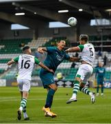 17 September 2020; Zlatan Ibrahimovic of AC Milan in action against Gary O'Neill, left, and Lee Grace of Shamrock Rovers during the UEFA Europa League Second Qualifying Round match between Shamrock Rovers and AC Milan at Tallaght Stadium in Dublin. Photo by Seb Daly/Sportsfile