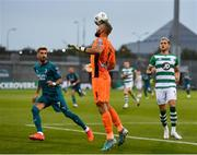 17 September 2020; Alan Mannus of Shamrock Rovers clears the ball under pressure from Samuel Castillejo of AC Milan during the UEFA Europa League Second Qualifying Round match between Shamrock Rovers and AC Milan at Tallaght Stadium in Dublin. Photo by Seb Daly/Sportsfile