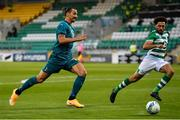 17 September 2020; Zlatan Ibrahimovic of AC Milan in action against Roberto Lopes of Shamrock Rovers during the UEFA Europa League Second Qualifying Round match between Shamrock Rovers and AC Milan at Tallaght Stadium in Dublin. Photo by Seb Daly/Sportsfile